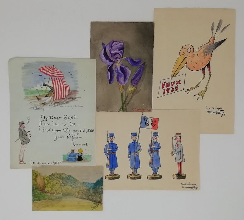 Album of 40 original Art Deco drawings and watercolours of charms, humorous [...]