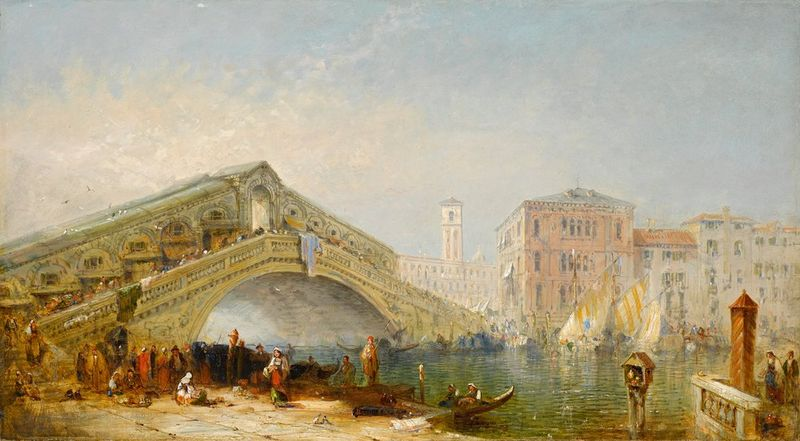 EUROPEAN SCHOOL, XIX CENTURY Grand Canal, Rialto Bridge and rich figural staffage - [...]