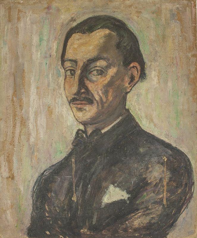 YVONNE DEGUÉRET (XIX-XX) Double painting: Men with a torch Portrait of a man on [...] - Bild 2 aus 2