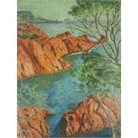 UNKNOWN ARTIST, French School, XX century Re rocks of Côte d'Azur - Oil on [...]