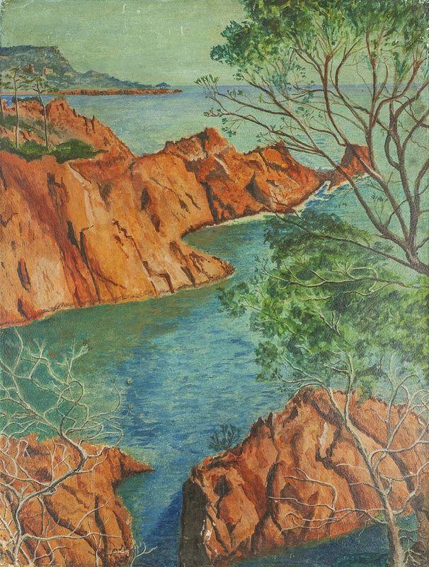 UNKNOWN ARTIST, French School, XX century Re rocks of Côte d'Azur - Oil on [...]