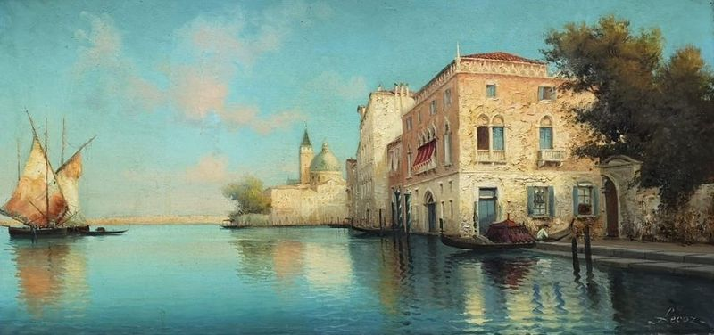 Alphonse LECOZ (XIX-XX) Venetian canal - Signed 'Lecoz' (lower right) Oil on [...]