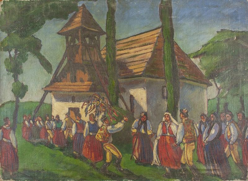 Unknown artist Wedding in a village - indistinctly signed 'T HIeSSer' (lower [...]