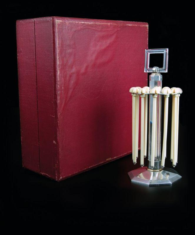 Art Deco Champagne Swizzle Sticks Stand - Silver and gold, rock crystal. 12 bone [...] - Bild 3 aus 3