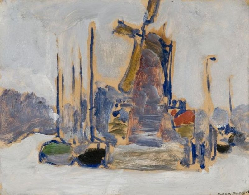 KEES VAN DONGEN (1877-1968) Bateaux à quai (Boats at dock) - Signed 'K. Van [...]