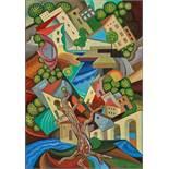 François Angiboult (Hélène d' Œttingen) (1887-1950) Untitled (cubist city) - [...]