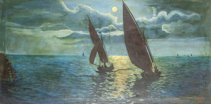 M. HEBRAS Sailing at night - Signed and dated 'M Hebras 45' (lower right) Oil [...]