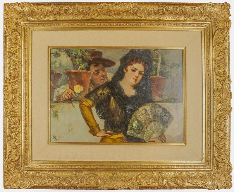 Antonio de Brugada (1804-1863) Espanola - Signed (lower left) Oil on panel 50 x [...] - Bild 2 aus 2