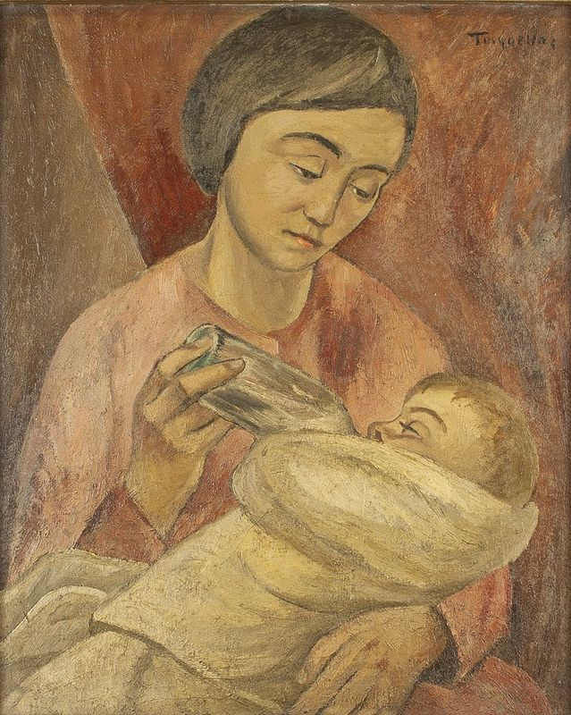 MIGUEL TUSQUELLAS CORBELLA (1884-1969) Maternité au biberon - Titled 'Tusquellas' [...]