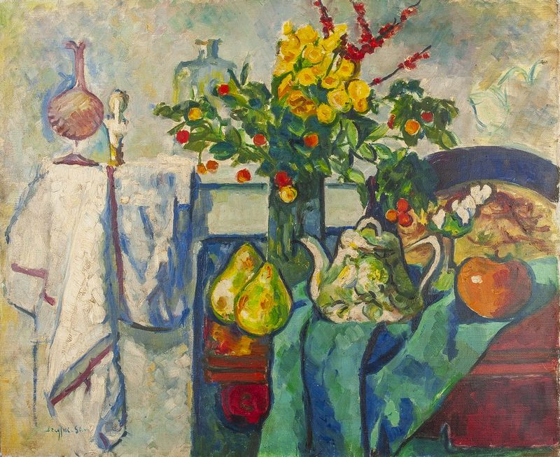 JEAN DREYFUS-STERN (1890-1980) Still life with apple and pears - Signed 'Dreyfus [...]