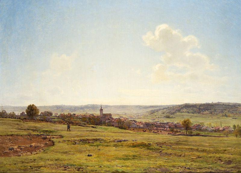JEAN FERDINAND MONCHABLON (1855-1904) View of the Village of Fresnes, 1895 - Signed [...]