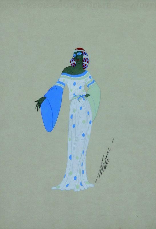 ERTE (1892-1990) Rose du Mal de Servand. 1940 Pencil and tempera on paper - [...]
