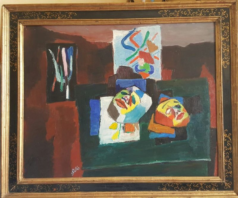 Isaac PAILES (1895-1978) Still life with masks - signed 'Pailles' (lower [...] - Bild 2 aus 2