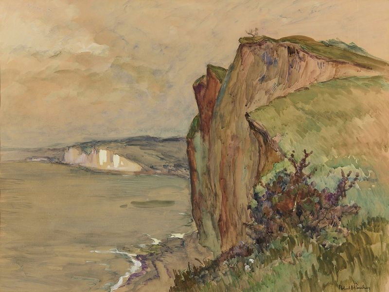 ROBERT ANTOINE PINCHON (1886-1943) Falaises a Varengeville - Watercolour on [...]