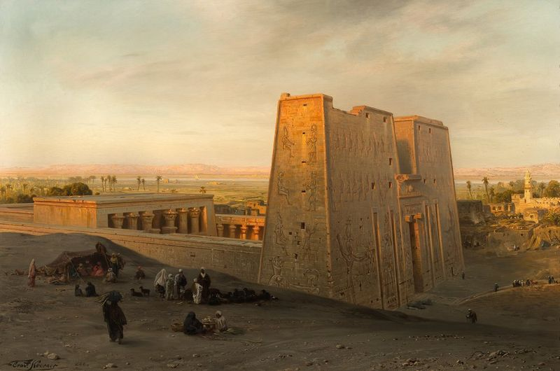 ERNST KARL KEORNER (1847-1909) Temple of Horus at Edfu, 1888 - Signed Oil on [...]