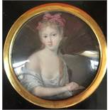 Portrait of a young girl Miniature, late 18th century - Gouache and watercolour on [...]