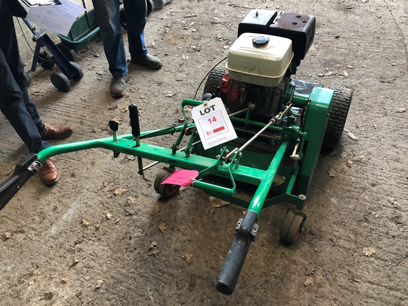 Lot 14 - Graden Scarifier lawn aerator with Honda GX340 11.00 hp petrol engine (broken arms for spares or