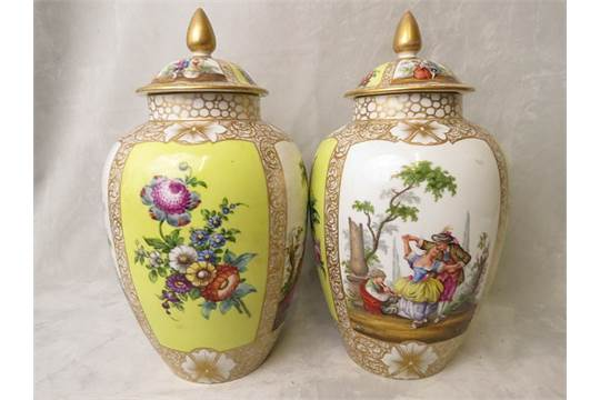 A Pair Of Large Helena Wolfson Style Dresden Porcelain Vase And