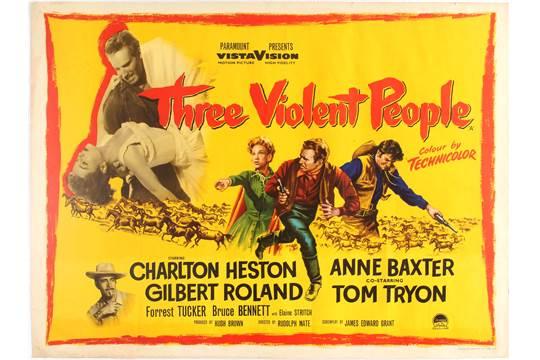 Movie Poster Three Violent People American western film directed ...