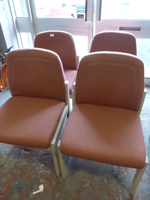 Lot 44 - Four Pink Upholstered Wood Framed Chairs