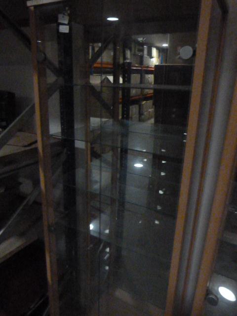 Lot 38 - Mirrored Back Glass Display Cabinet 168x57x33cm