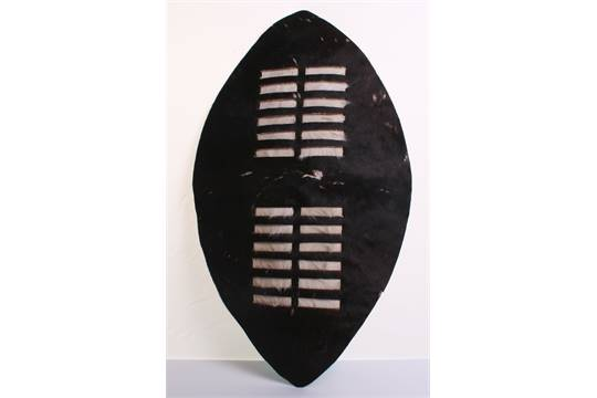 20th Century Zulu Shield, of animal hide with much of the
