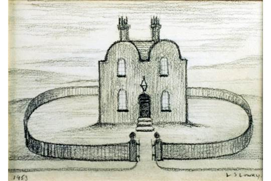 Attributed to l s lowry pencil drawing detached house in a landscape signed lower right and d