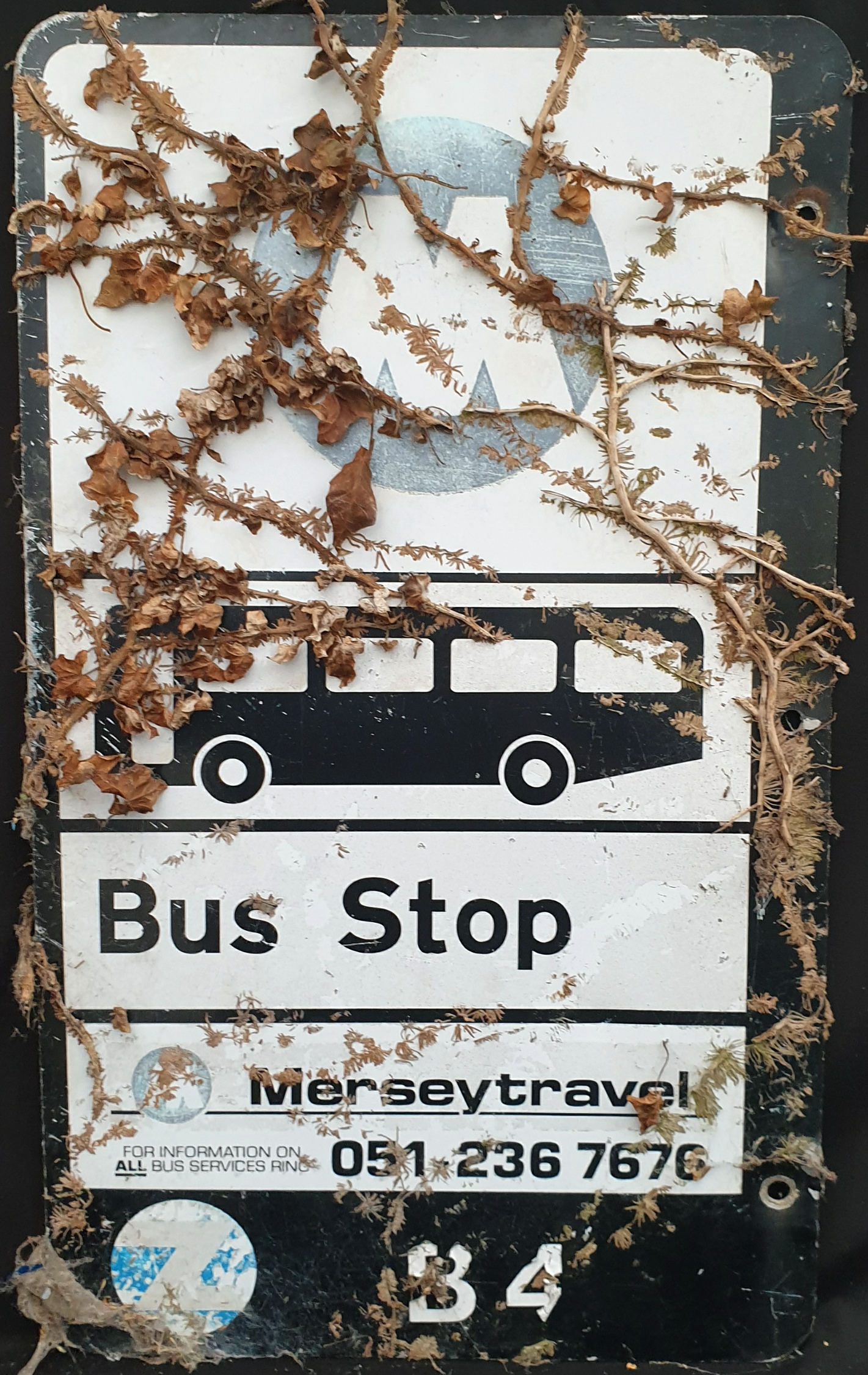 Vintage Retro Metal Mersey Travel Bus Stop Sign - Image 2 of 2