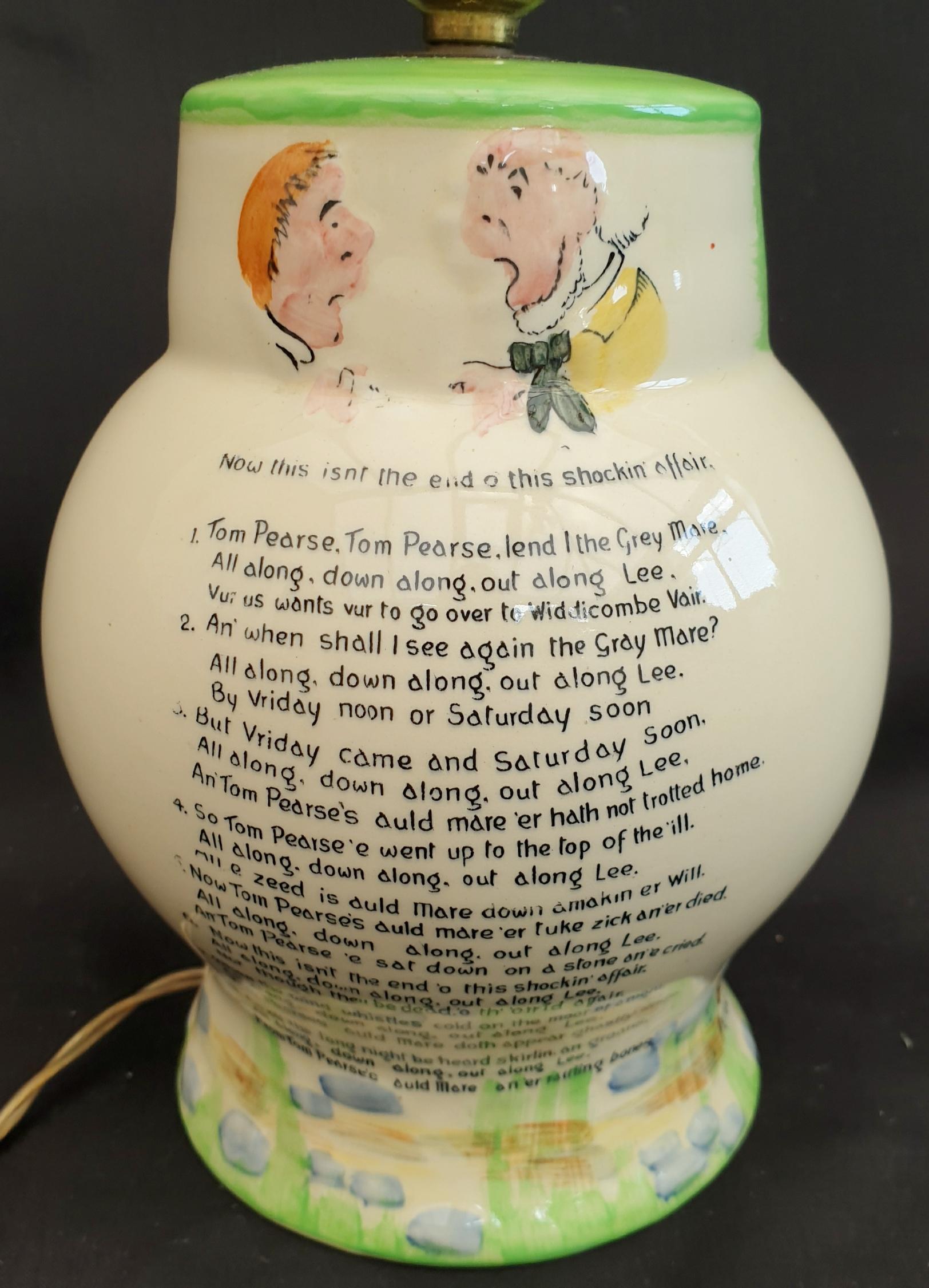 Antique Crown Devon Fieldings Widdecombe Fair Table Lamp Original Shade - Image 2 of 4