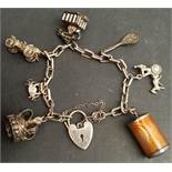 Vintage Sterling Silver Charm Bracelet Includes 8 Charms