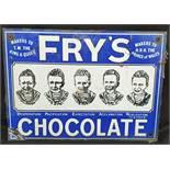 Vintage Enamelled Metal Fry's Chocolate Shop Wall Advertising Sign