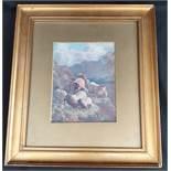 Antique Gilt Framed Print of Sheep on A Hillside.