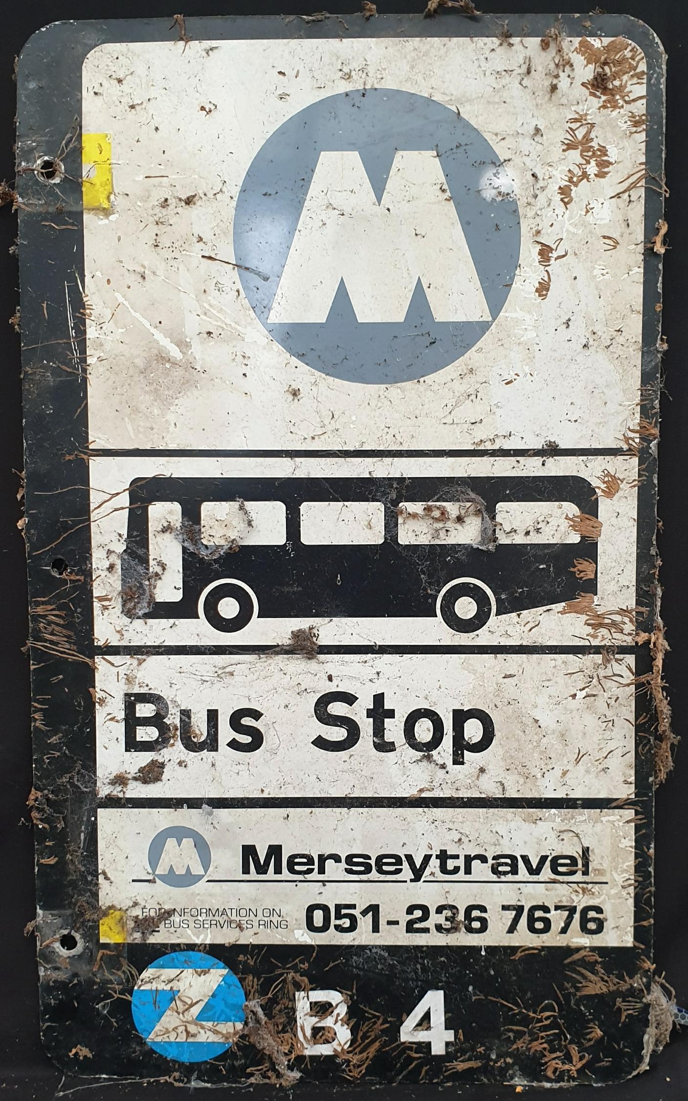 Vintage Retro Metal Mersey Travel Bus Stop Sign