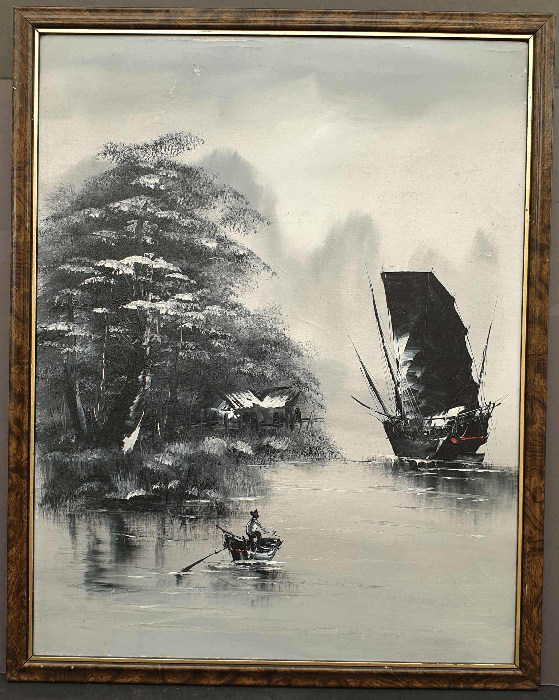 Vintage Framed Art Oil on Canvas Naval Scene Chinese Junk