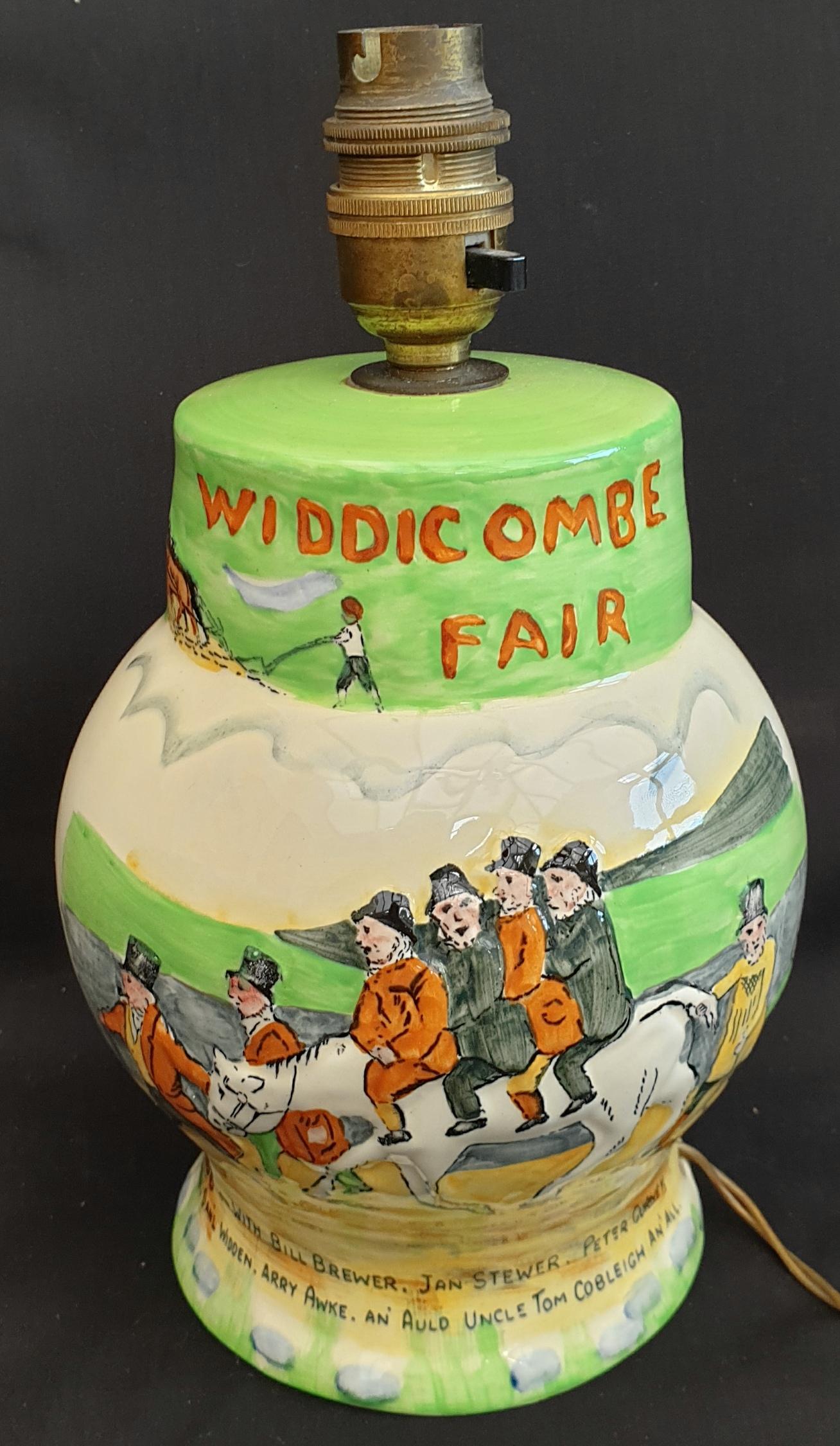 Antique Crown Devon Fieldings Widdecombe Fair Table Lamp Original Shade