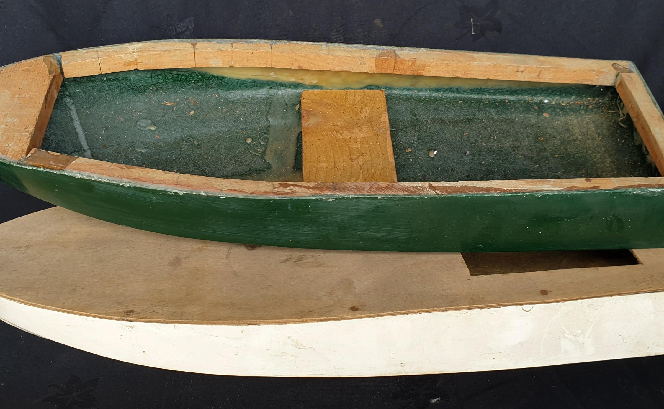 Vintage 2 x Fibre Glass & Wood Boat Hulls - Image 2 of 2