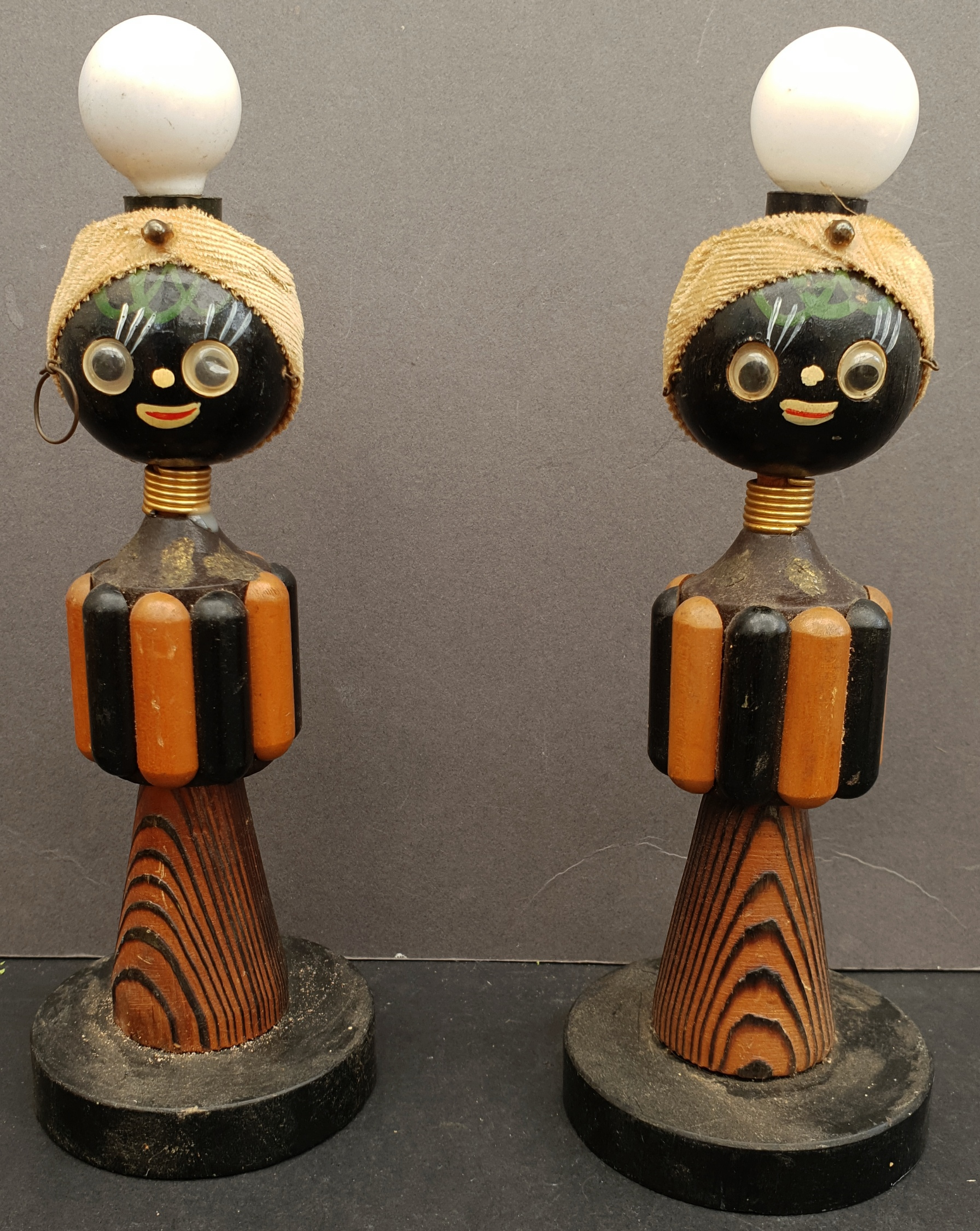 Antique Vintage Table Lights Ethnic Caricatures - Image 2 of 2