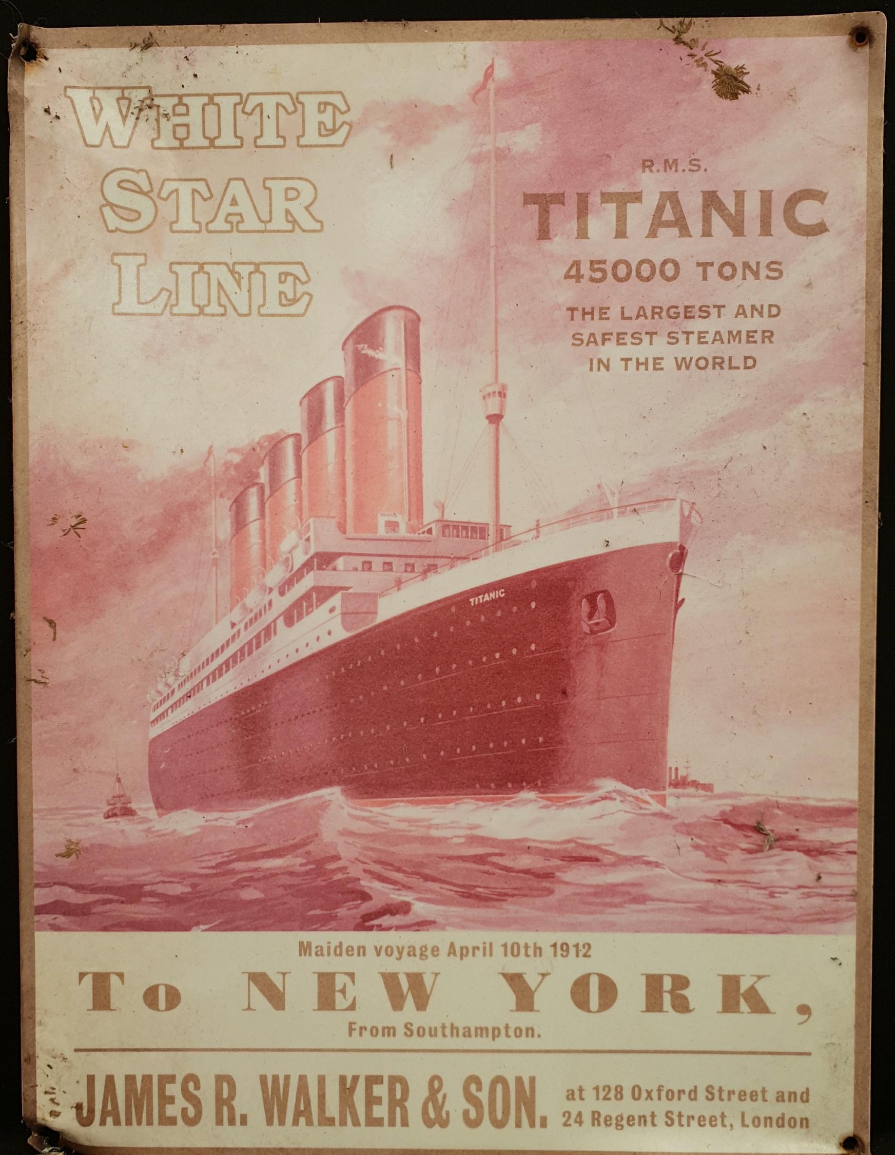 Vintage Retro Metal Titanic White Star Line Wall Advertising Sign