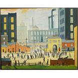 Vintage Art Painting Oil On Canvas After L. S. Lowry Coming From The Mill.