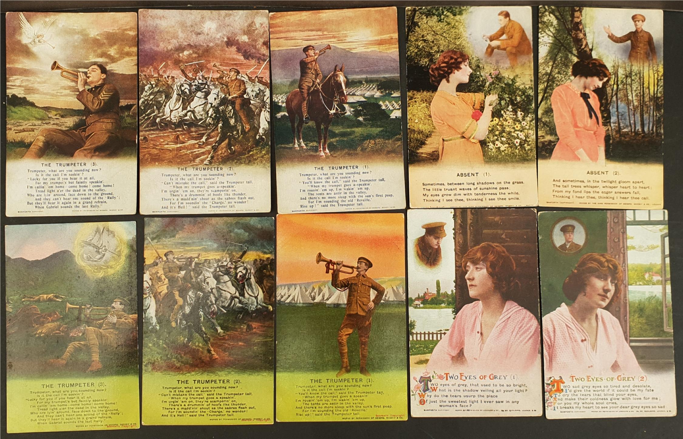 Antique Military WWI Ten Postcards Bamforth