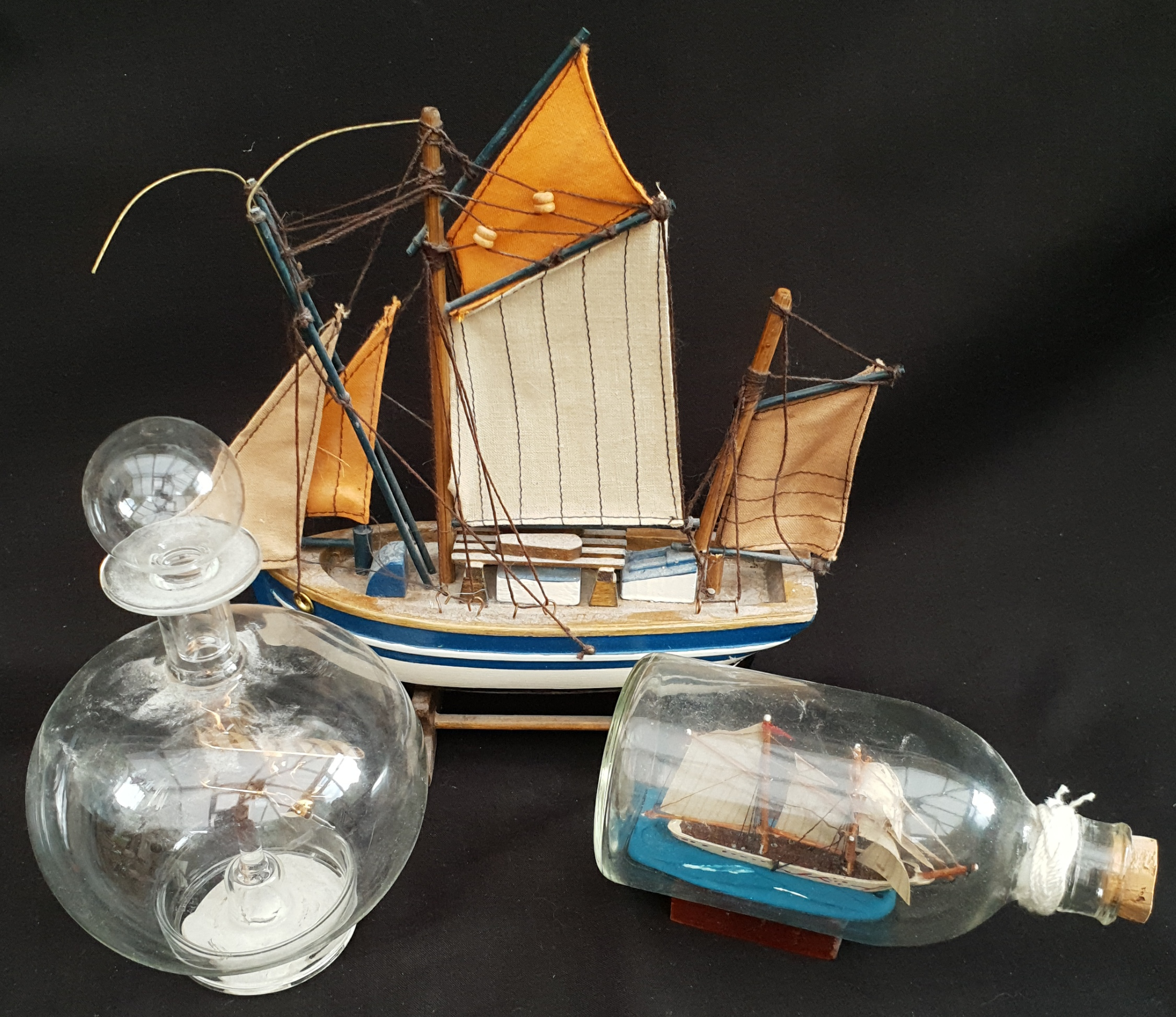 Vintage Ship in Bottle Model Ship & Plane in Bottle