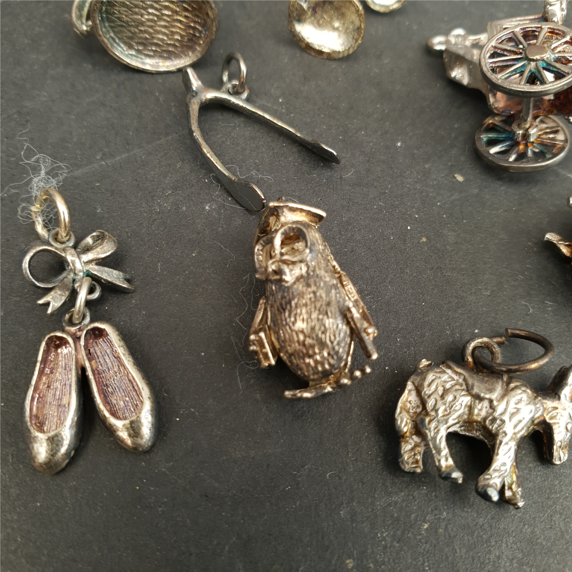 Vintage Parcel of 8 Silver Charms Includes Donkey Owl Ballet Shoes etc. - Image 2 of 2