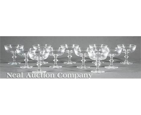 """Eleven Steuben Champagne/Sherbet Coupes, h. 3 1/8 in., with original fitted box marked """"MARSHALL FIELD & COMPANY/ Steuben/ gl"""