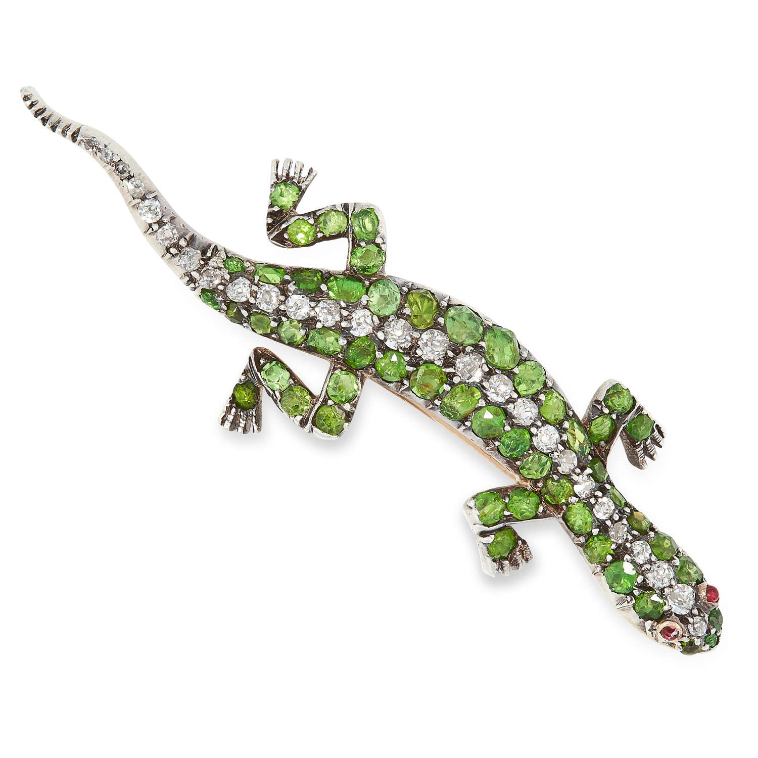 AN ANTIQUE DEMANTOID GARNET, DIAMOND AND RUBY SALAMANDER BROOCH in gold and silver, set with cushion