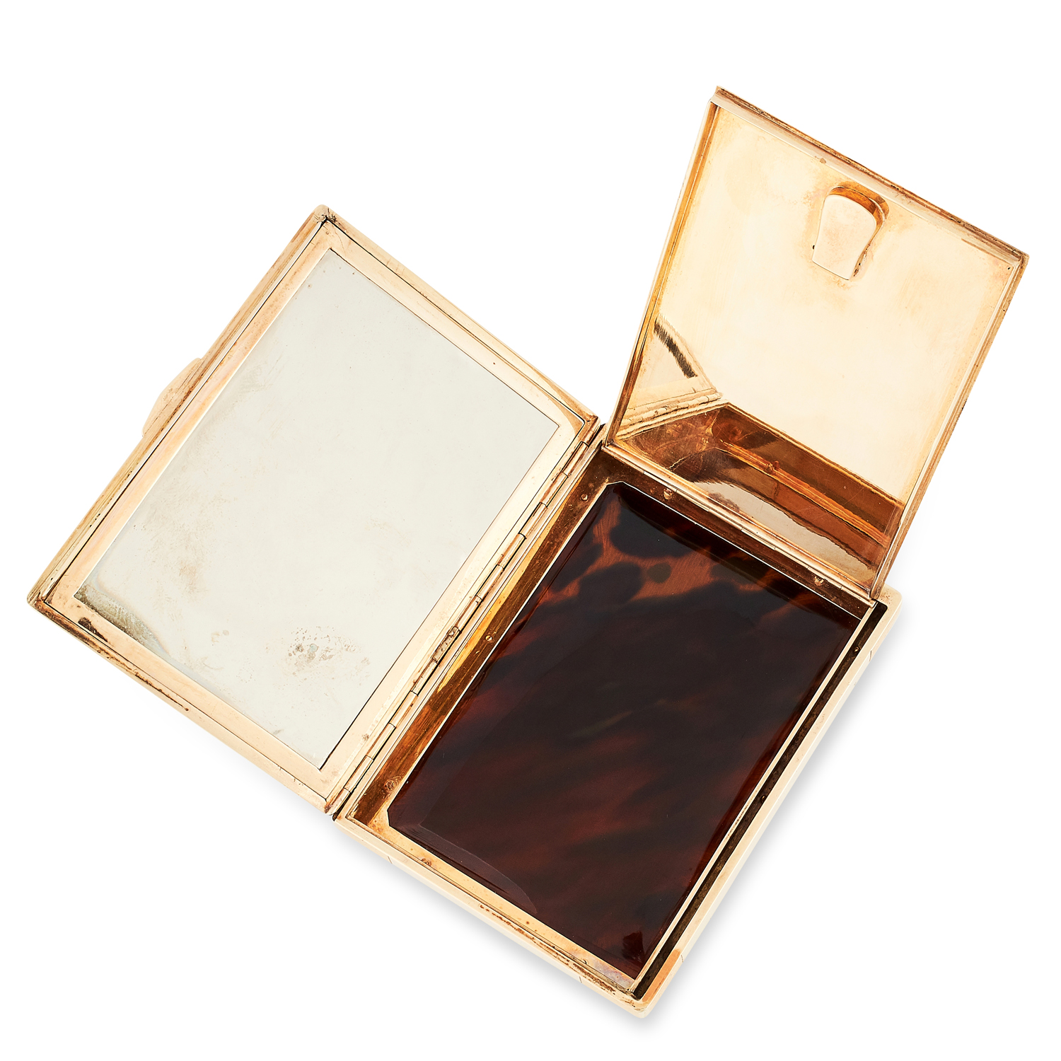 AN ANTIQUE LACQUE BURGAUTÉ CHINOISERIE VANITY CASE, CARTIER CIRCA 1920 in high carat yellow gold, of - Image 3 of 3