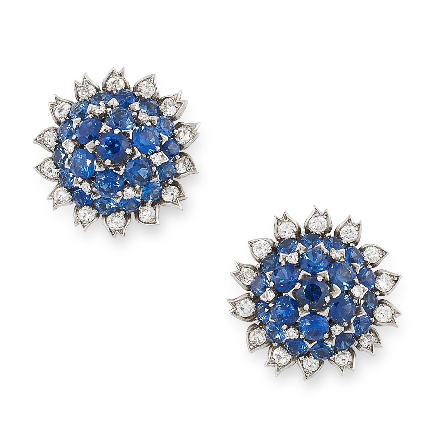A PAIR OF VINTAGE SAPPHIRE AND DIAMOND EARRINGS, CARTIER CIRCA 1960 in 18ct white gold, each set