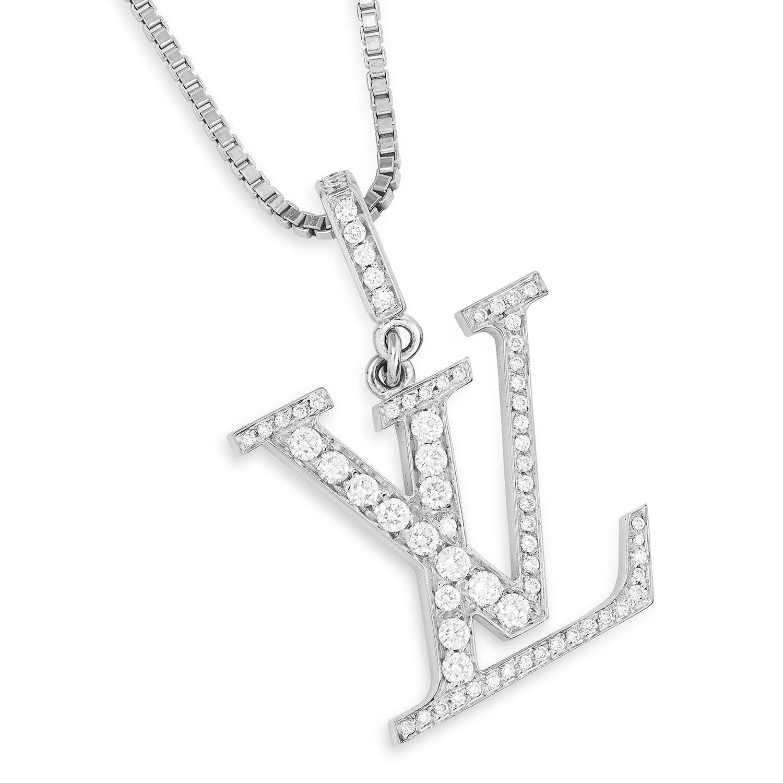 A DIAMOND LV PENDANT, LOUIS VUITTON in 18ct white gold, designed as the Louis Vuitton logo, set with