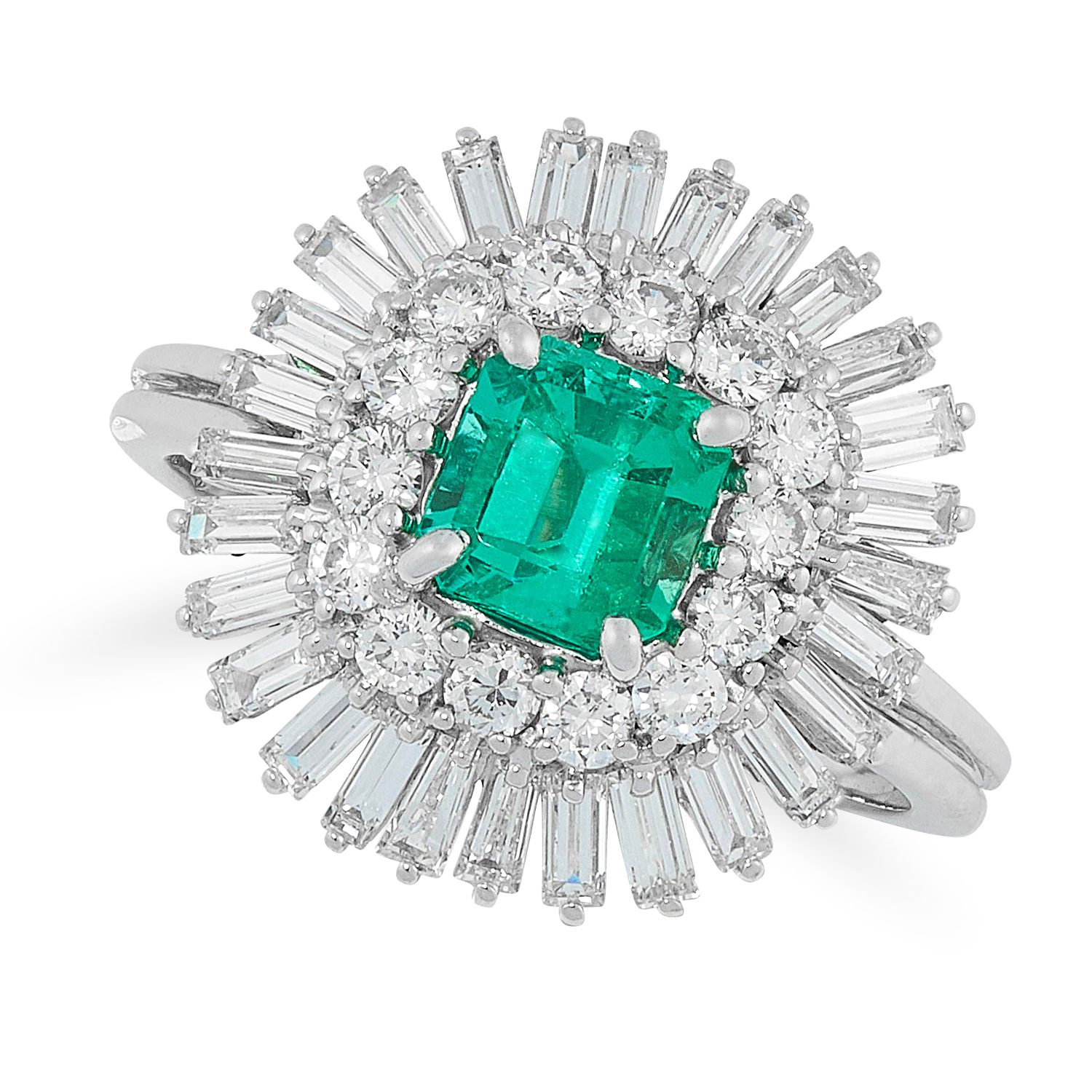 AN EMERALD AND DIAMOND CLUSTER RING comprising of an emerald cut emerald of 0.95 carats in a