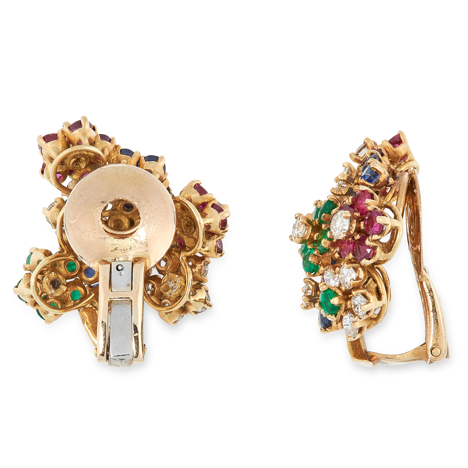 A PAIR OF VINTAGE RUBY, SAPPHIRE, EMERALD AND DIAMOND CLIP EARRINGS, 1960s in high carat yellow - Image 2 of 2
