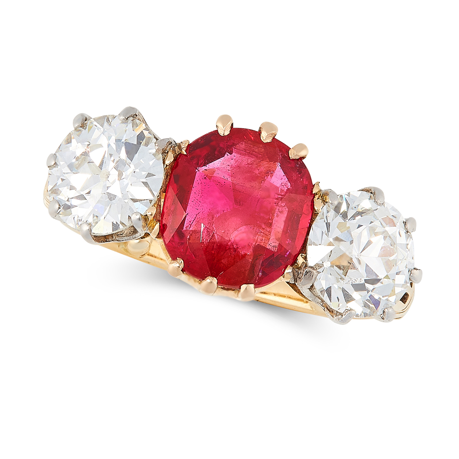 A 1.83 BURMA NO HEAT RUBY AND DIAMOND THREE STONE RING, CIRCA 1950 in 18ct yellow gold and platinum,